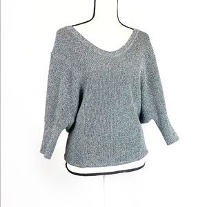 Express Dolman Sleeve Gray Deep Crew Neck Sweater